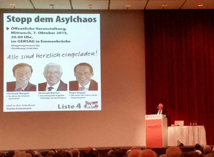 Asylanlass mit Alt-Bundesrat Christoph Blocher, Nationalrat Christoph Mörgeli und Verleger Roger Köppel