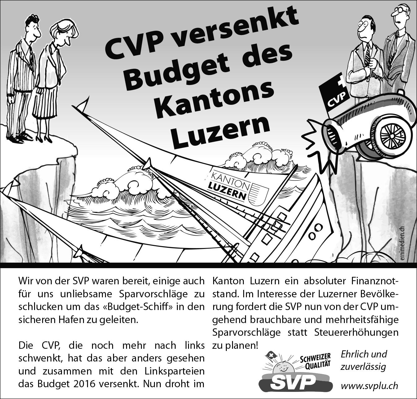 CVP versenkt Budget des Kantons Luzern
