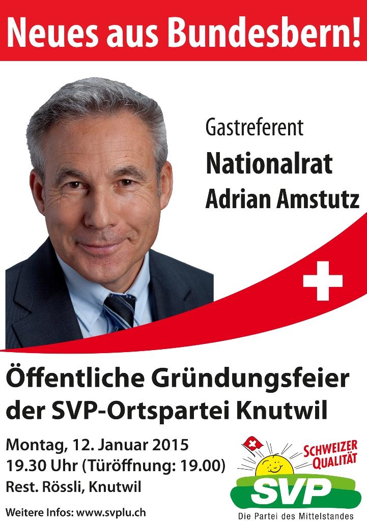 Öffentliche Gründungsfeier SVP-Ortspartei Knutwil